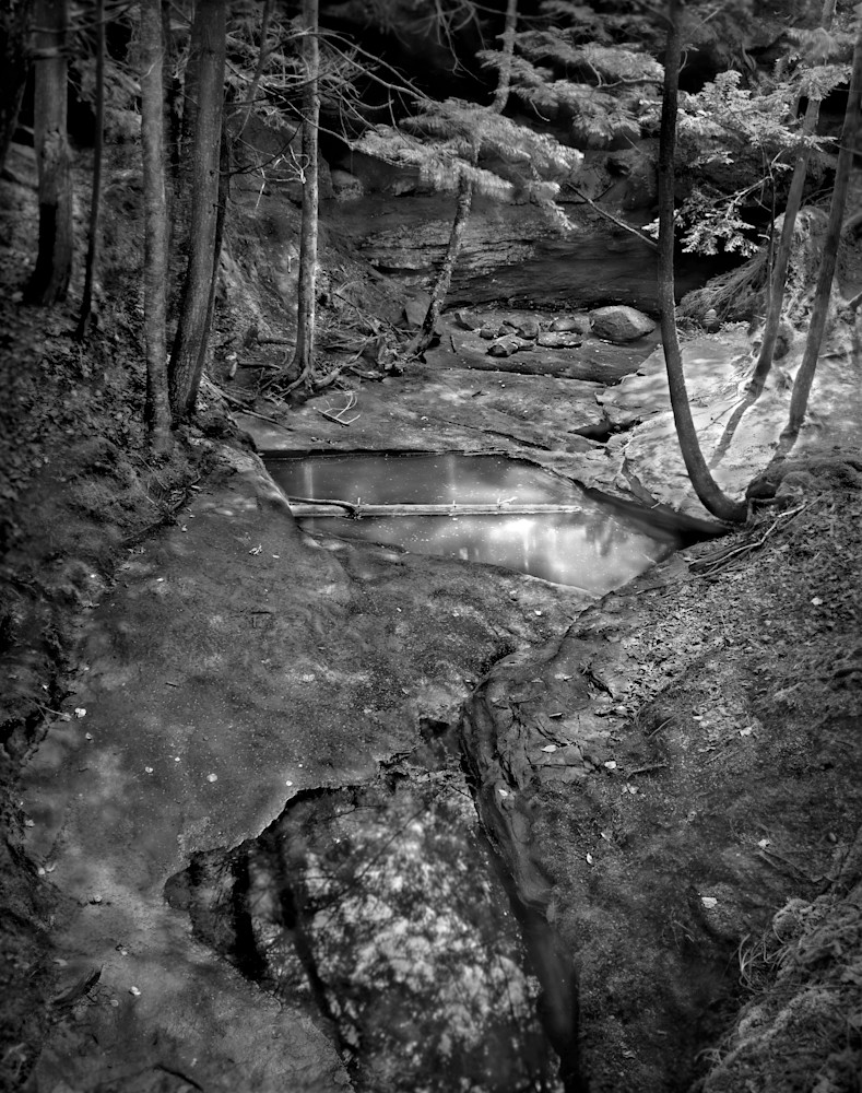 The Serenity of Water - bw | Echo Dells, Northern Wisconsin - bw. Peaceful Wisconsin stream bed in summer. Fine art black and white photograph by David Zlotky.