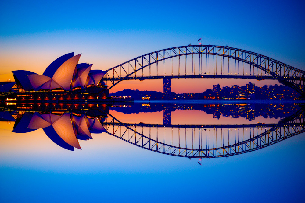 Reflected Icons - Sydney Harbour Bridge Sydney Opera House - Sydney NSW Australia