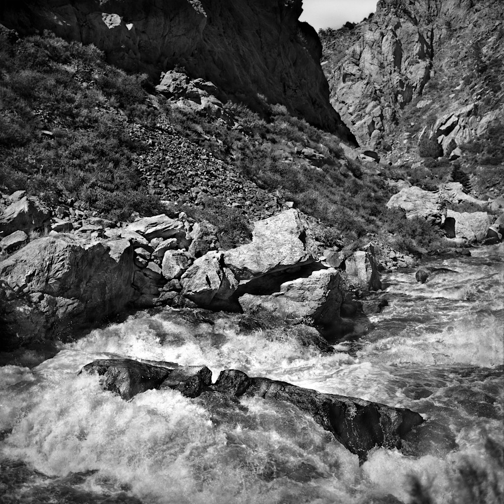 The Serenity of Water Collection - bw | Snowmelt in Poudre' Canyon. Swollen Colorado River. Black and white fine art photograph by David Zlotky.