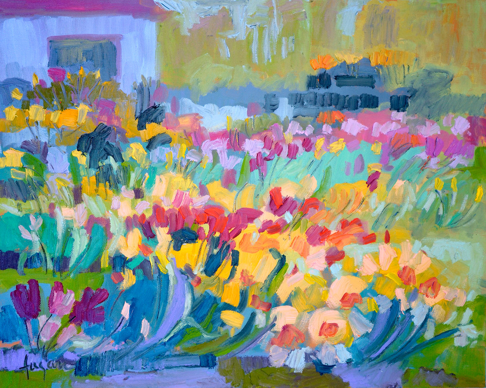 Abstract Daffodils Painting Art Print, Bloomers by Dorothy Fagan