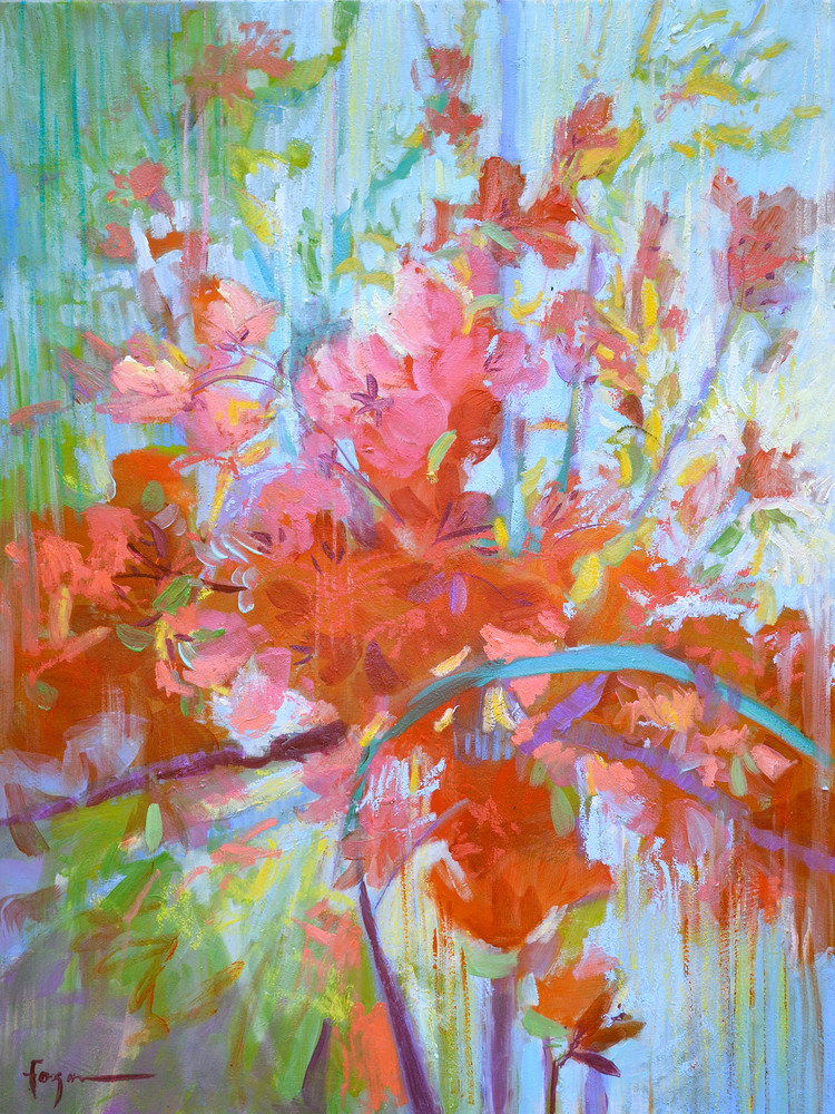 Red Abstract Flowers Painting, Print by Dorothy Fagan