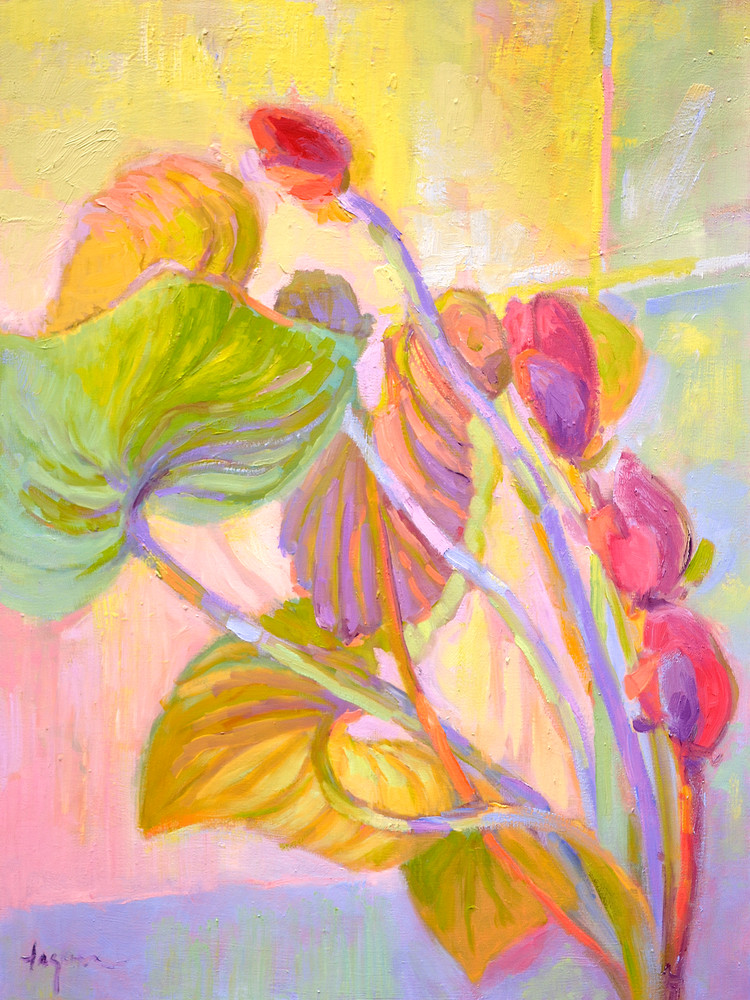 Red Orchid Painting, Print by Dorothy Fagan