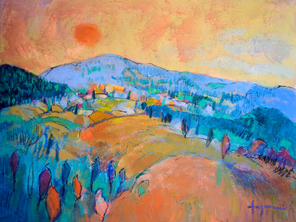 Mountain Sunset Painting, Print by Dorothy Fagan