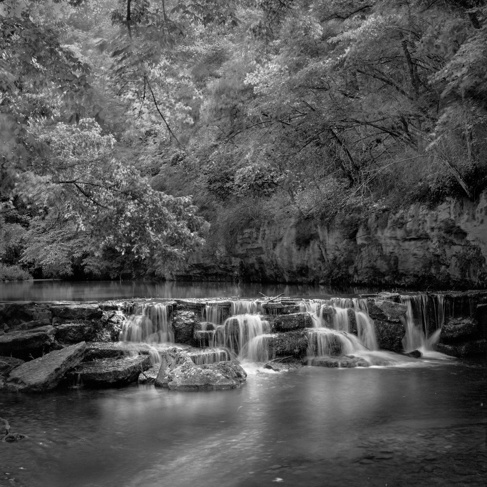 The serenity of water bw dogwood canyon the ozarks nature park with beautiful serene waterfalls fine art black and white