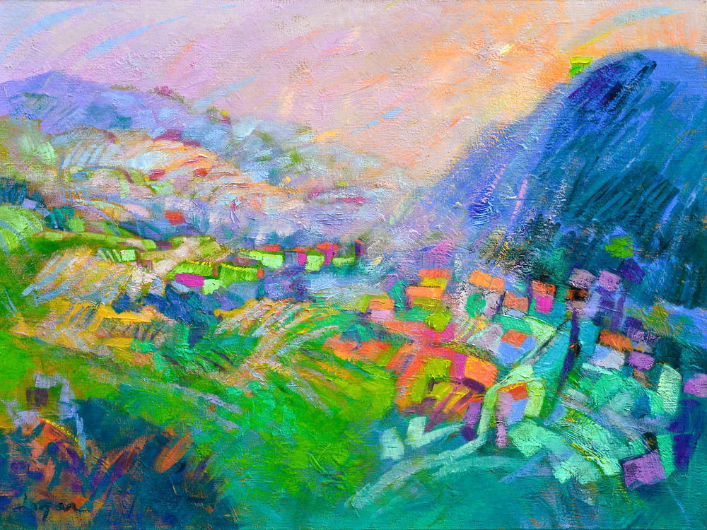 Tuscany Mountain Landscape Painting, Print by Dorothy Fagan