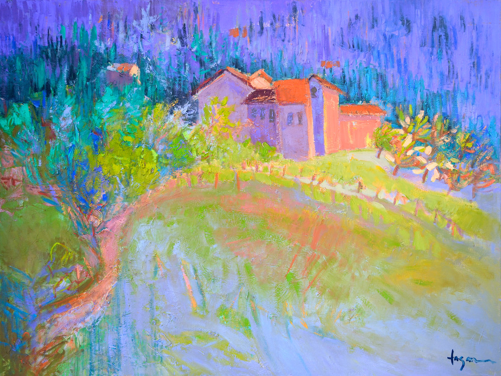 Tuscan Villa Mountain Painting, Fine Art Print by Dorothy Fagan
