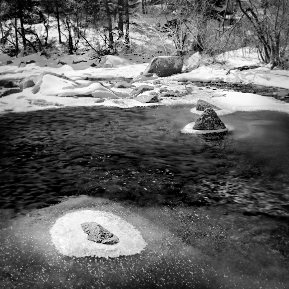 The Serenity of Water Collection - bw | Islands in the Stream. A black and white fine art photograph of Colorado stream by David Zlotky.
