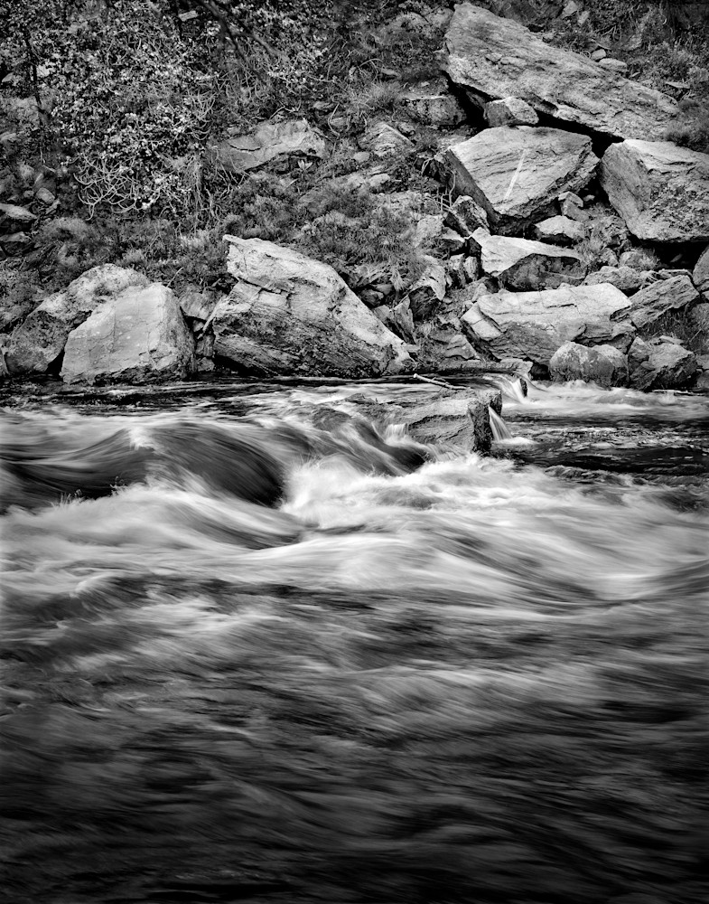 The Serenity of Water - bw | Relative Motion -bw. The flow of the water, captured with a fairly long shutter speed. Poudre' River, Colorado.