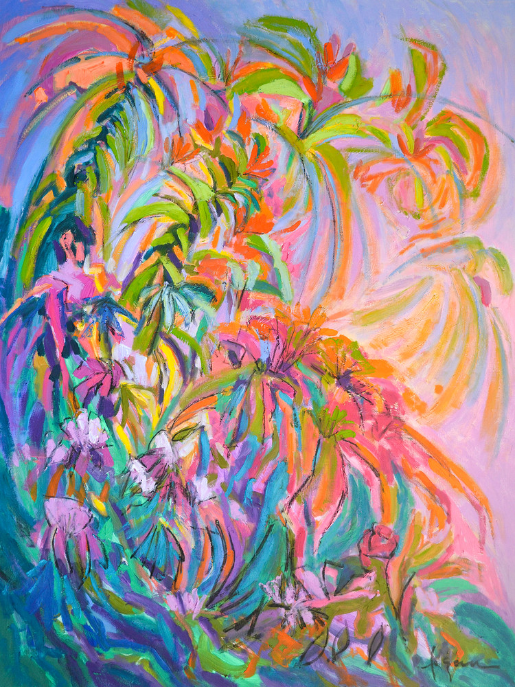 Large Coral Pink Flower Abstract Painting Canvas Print by Dorothy Fagan