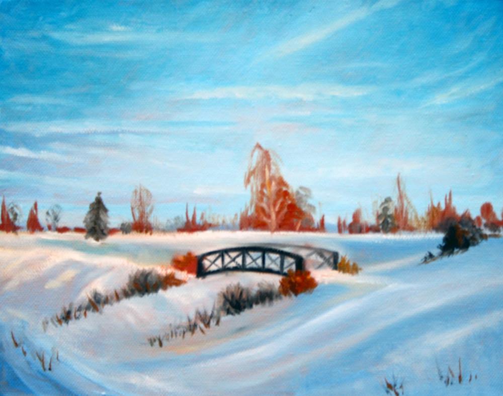 Footbridge in the snow fine art print