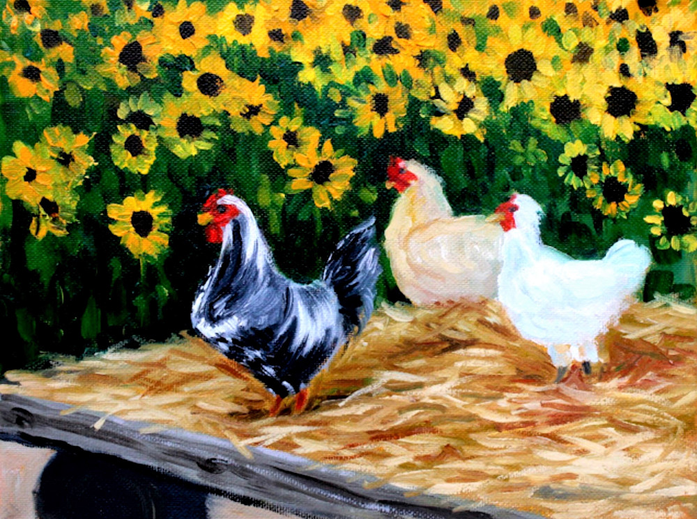 The Chicken Sisters fine art print by Contemporary American Artist Hilary J England