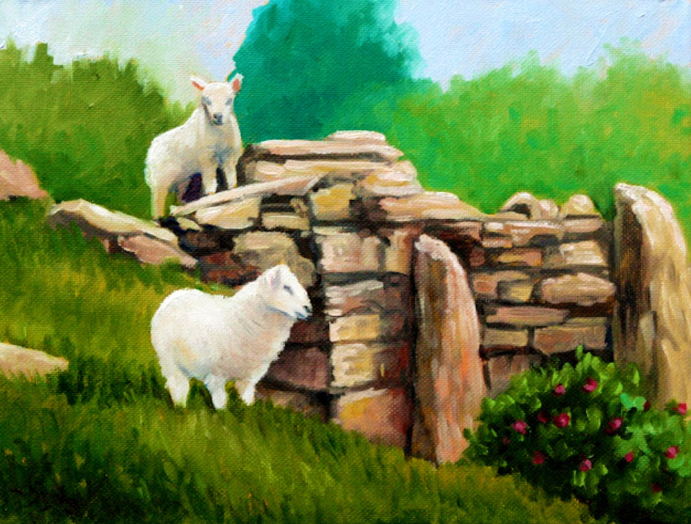 Spring lambs in the ruin fine art print by Contemporary American Artist Hilary J. England