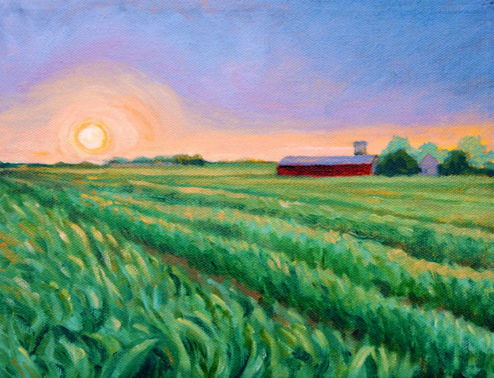 Sunset on Kempton farm fine art print by American Artist Hilary J England