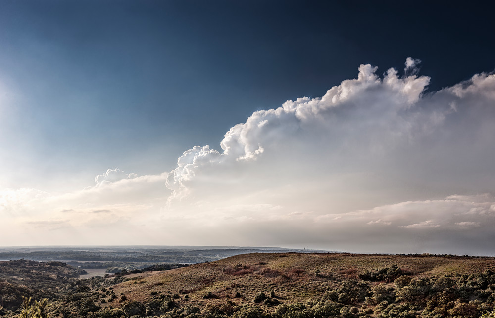 Panoramas/Wide View Collection - color | Flint Hills Overlook on Highway 177 - color. Building thunderstorm in Kansas. David Zlotky fine art photograph.