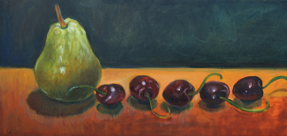 Study of pear and cherries fine art print