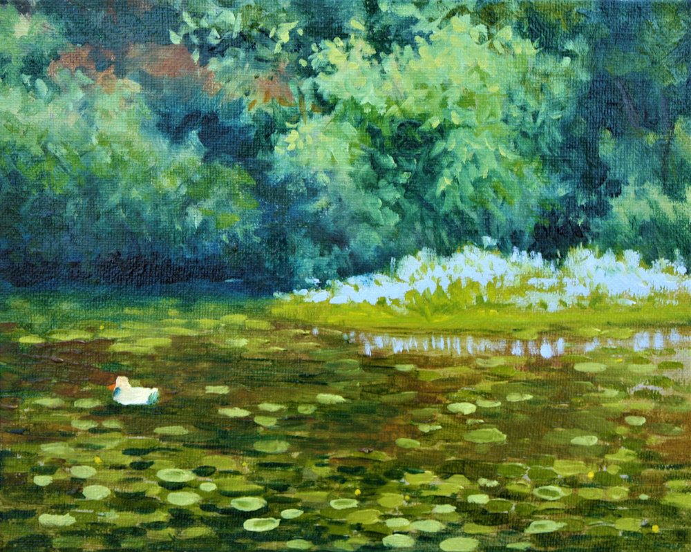 Small duck in the lilypond fine art print