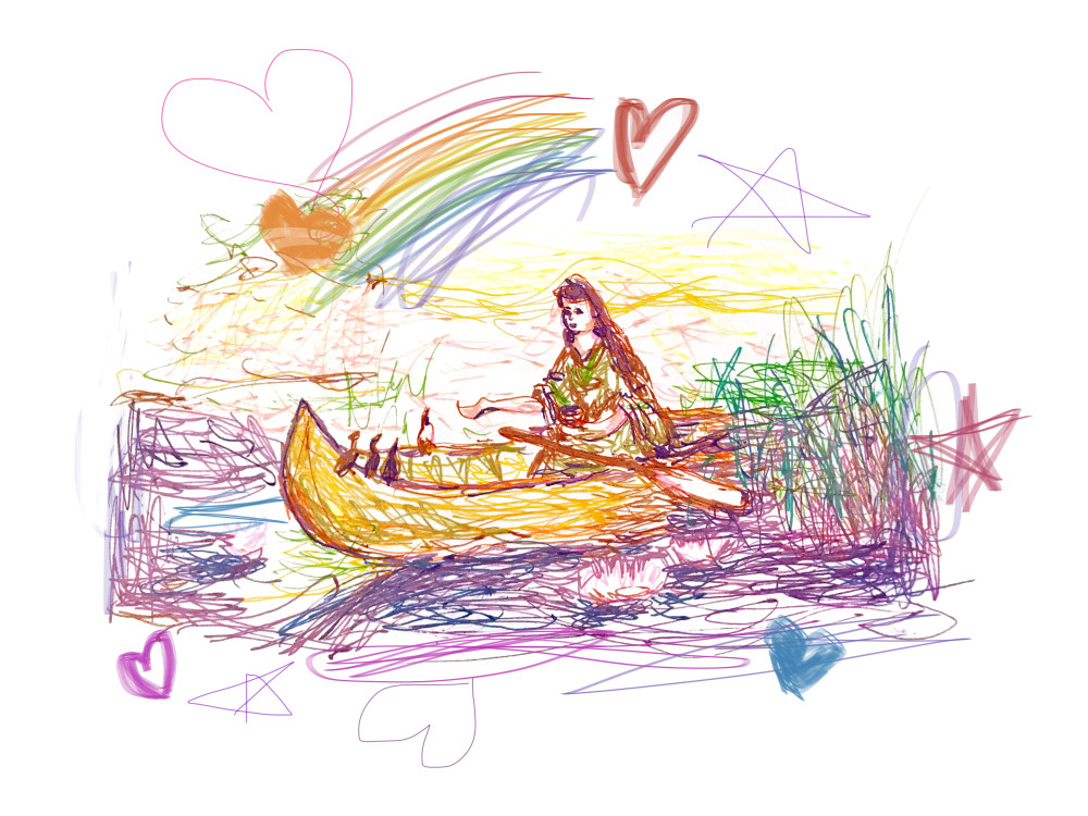 Canoe Lady   Contemporary Art Print