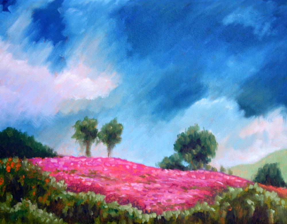 Blue Sky Pink Flowers Fine Art Print by Hilary J. England