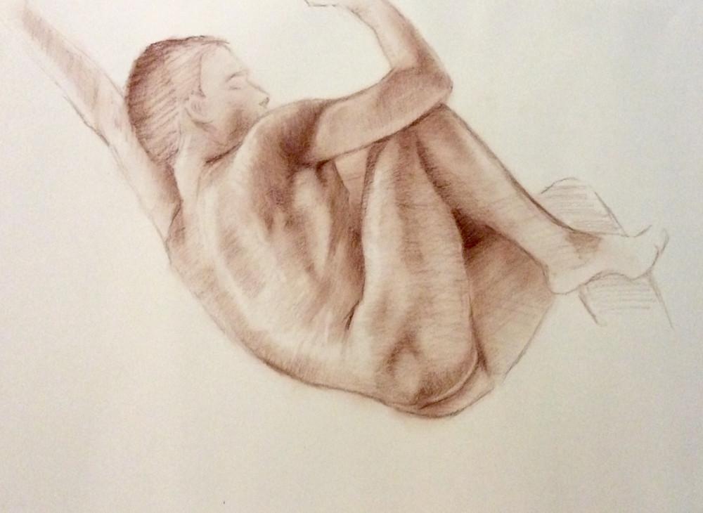 Study of Male Nude in Sepia Open Edition Fine Art Print