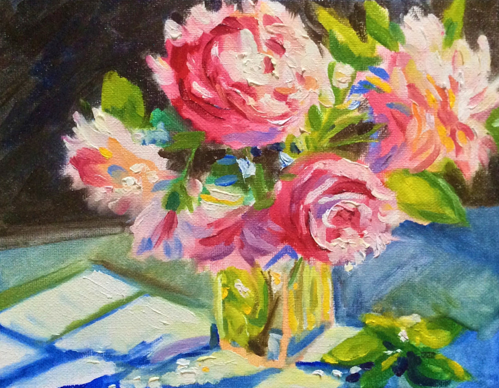 Pink Flowers and Blue Shadows Fine Art Print by Hilary J. England