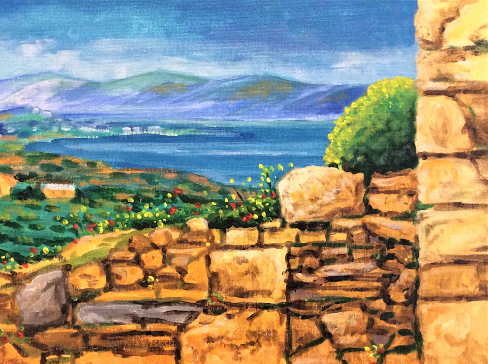 Athens view of ruins and ocean Fine Art Open Edition Print