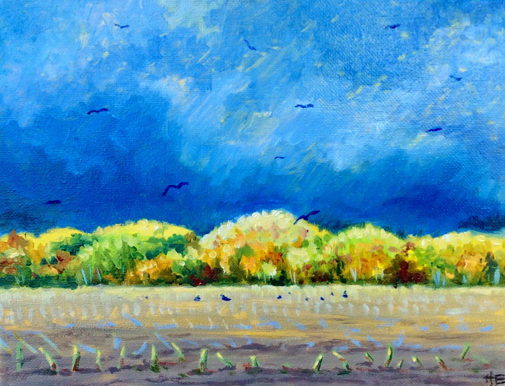 Blackbirds in the harvested fields Fine Art Open Edition Print