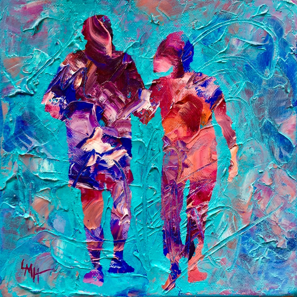 One Last Walk, a  museum quality fine art print from the Silhouette Collection by southern artist, Laura McRae Hitchcock, depicts a couple walking on the beach
