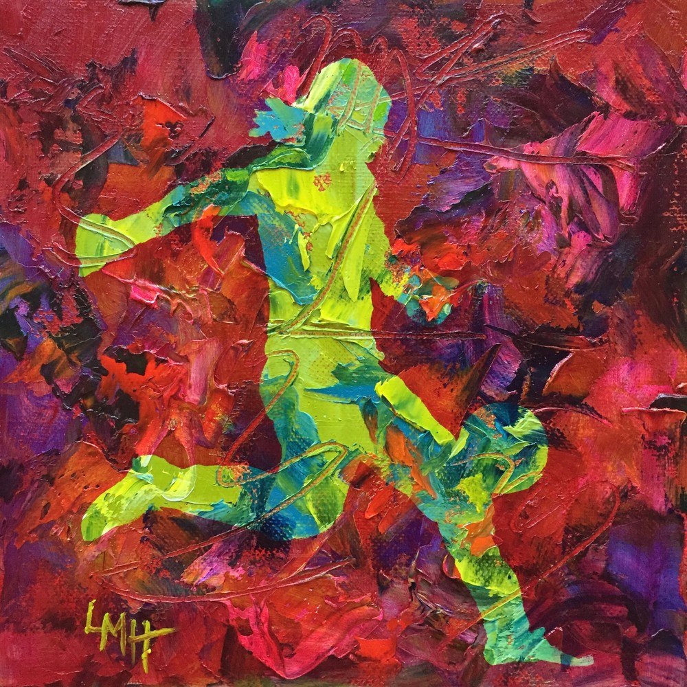 Full On, a  museum quality fine art print from the Silhouette Collection by Southern artist, Laura McRae Hitchcock, depicts a girl playing soccer.