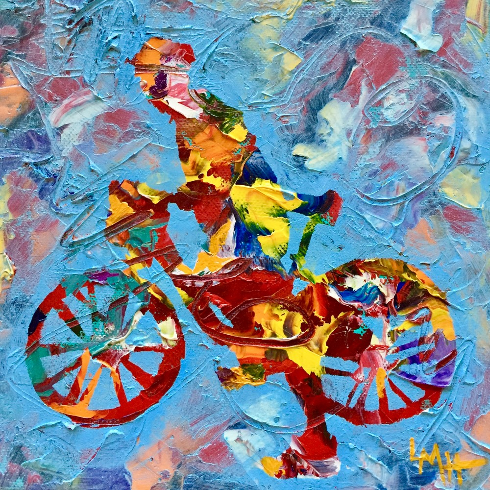 Ready Set Go! by Laura McRae Hitchcock is a fine art print on archival watercolor paper using the finest inks depicting a figure on a bike.
