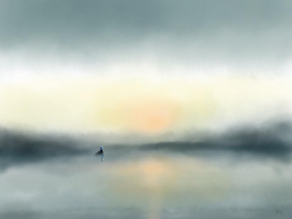 Lone Sailboat digital painting