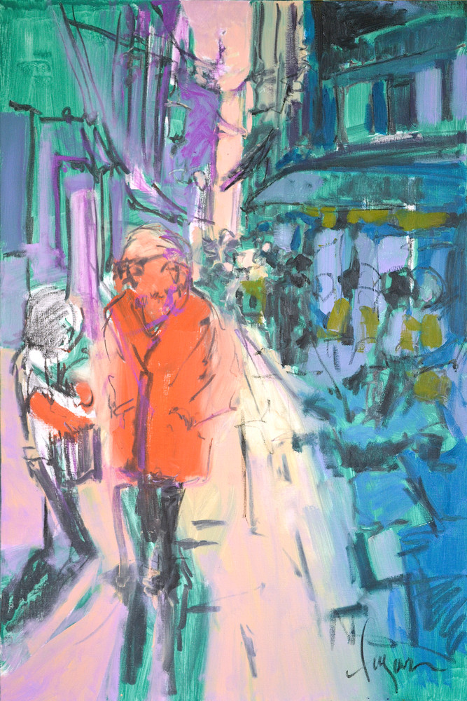 Venice Street Scene, People Architecture Painting by Dorothy Fagan