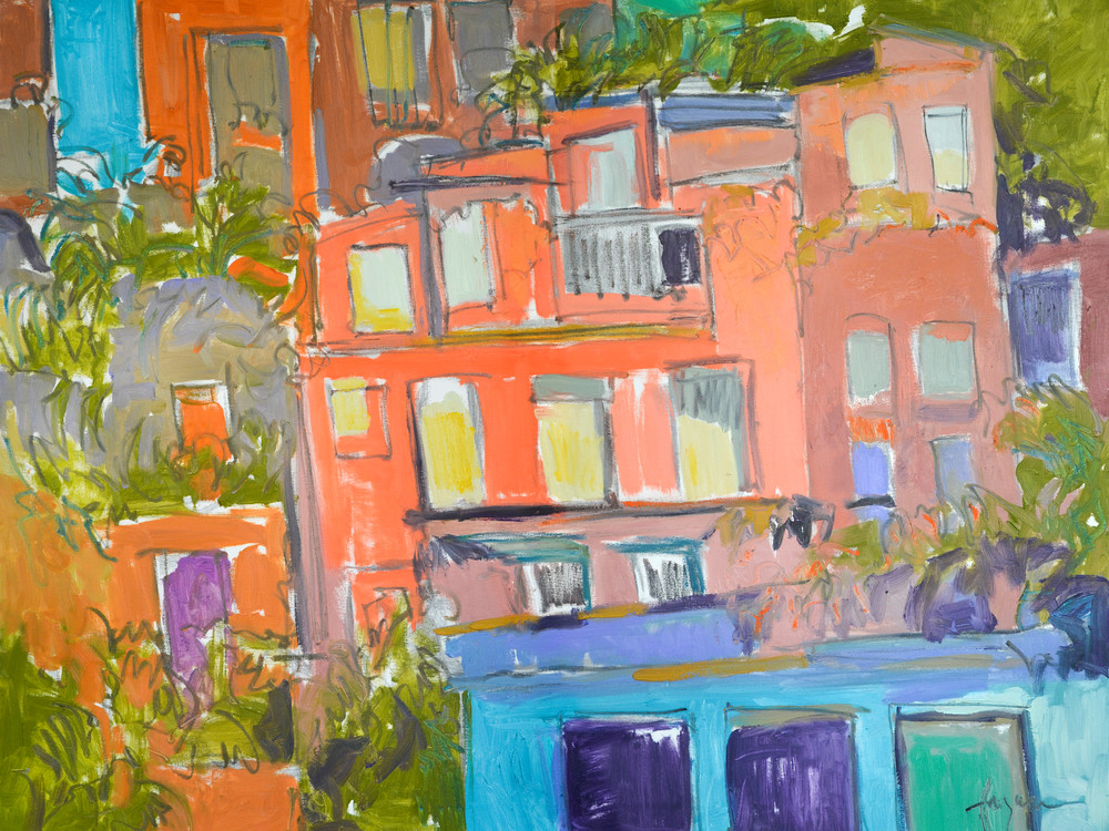 Positano Painting, Architecture Limited Edition Print by Dorothy Fagan