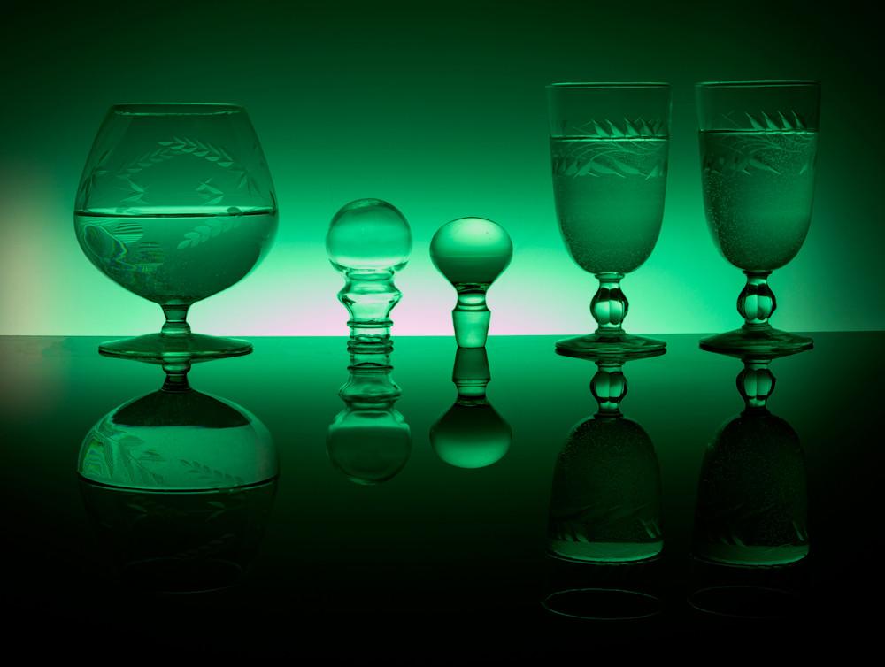 Fine Art Photographs of Green Reflections on Black Plexiglass by Michael Pucciarelli