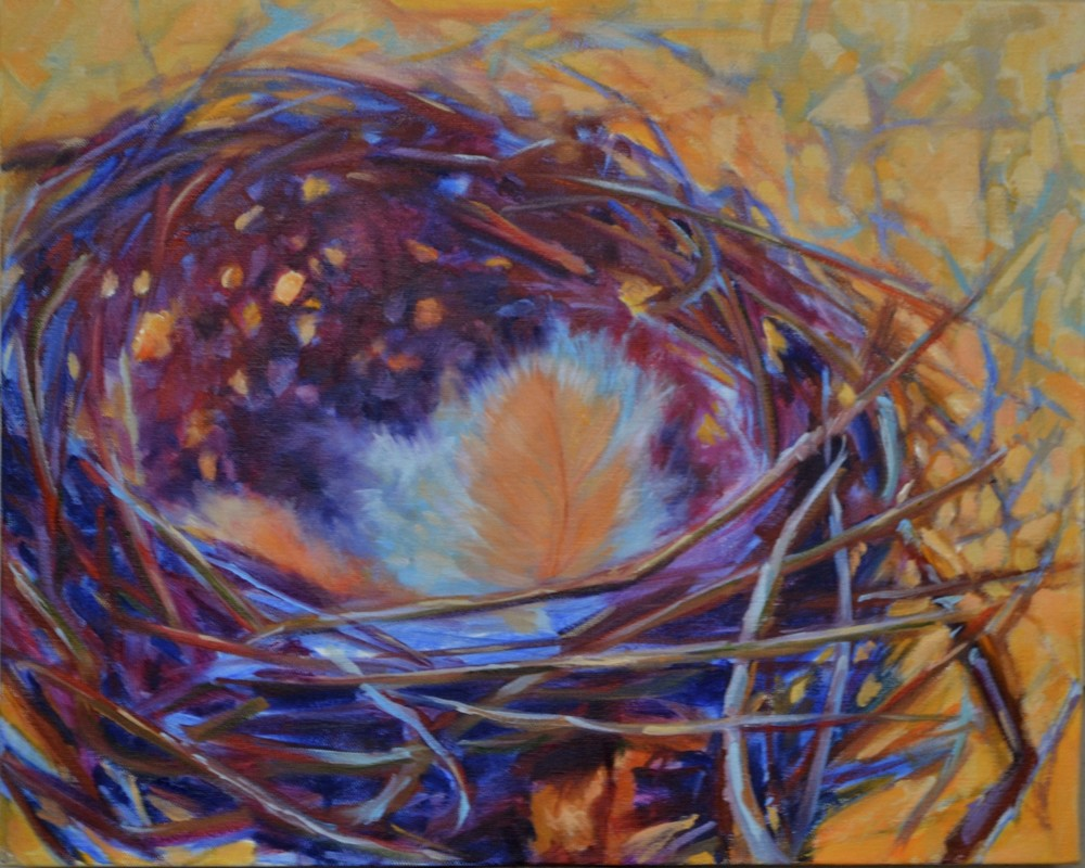 Light in the Empty Nest by Laura McRae Hitchcock, a fine art print on archival watercolor paper using the finest inks depicting a nest with a feather in it.