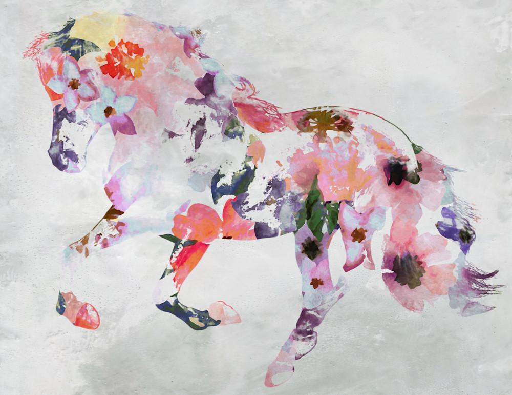 Pink Boho Floral Horse