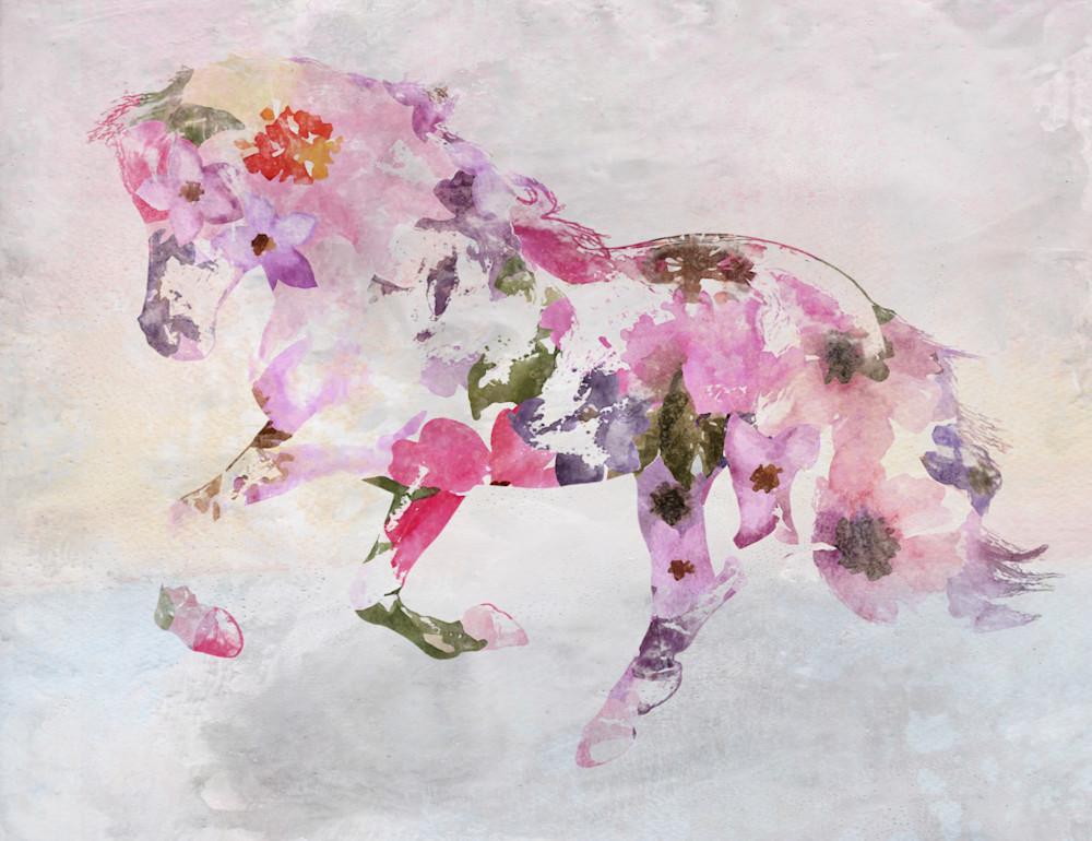 Pink Floral Horse