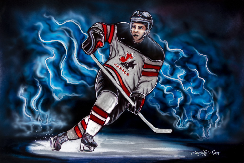 metal art, airbrush, hockey player, Canadian olympic team, white jersey