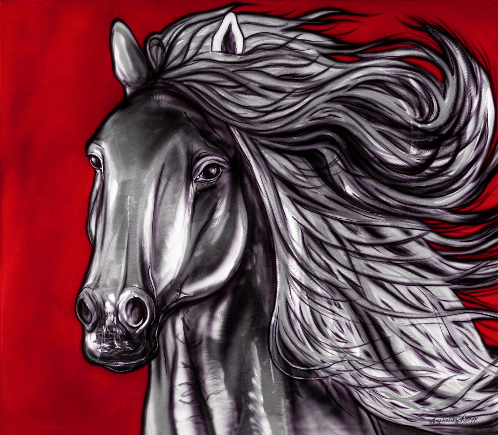 metal art, airbrush, horse, wildlife, canadian, native, metal grinded, spiritual
