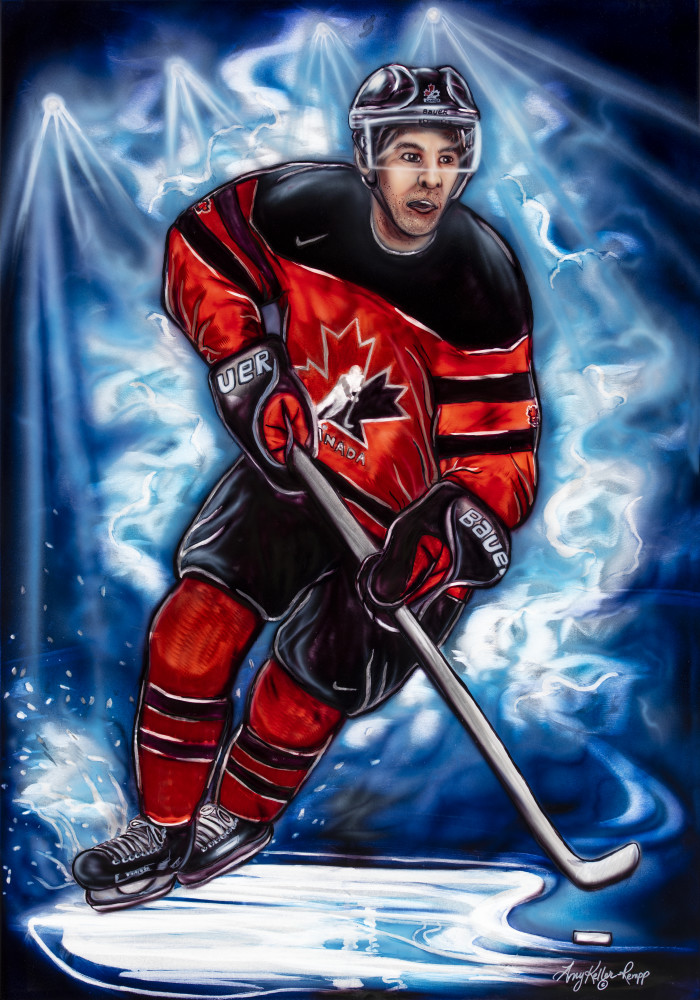 metal art, airbrush, hockey player, canadian olympic team, red jersey, acrylic