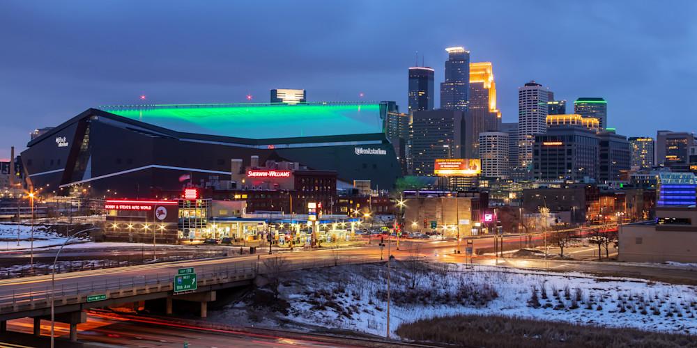 US Bank Stadium Saint Patricks Day - Cityscape Minneapolis