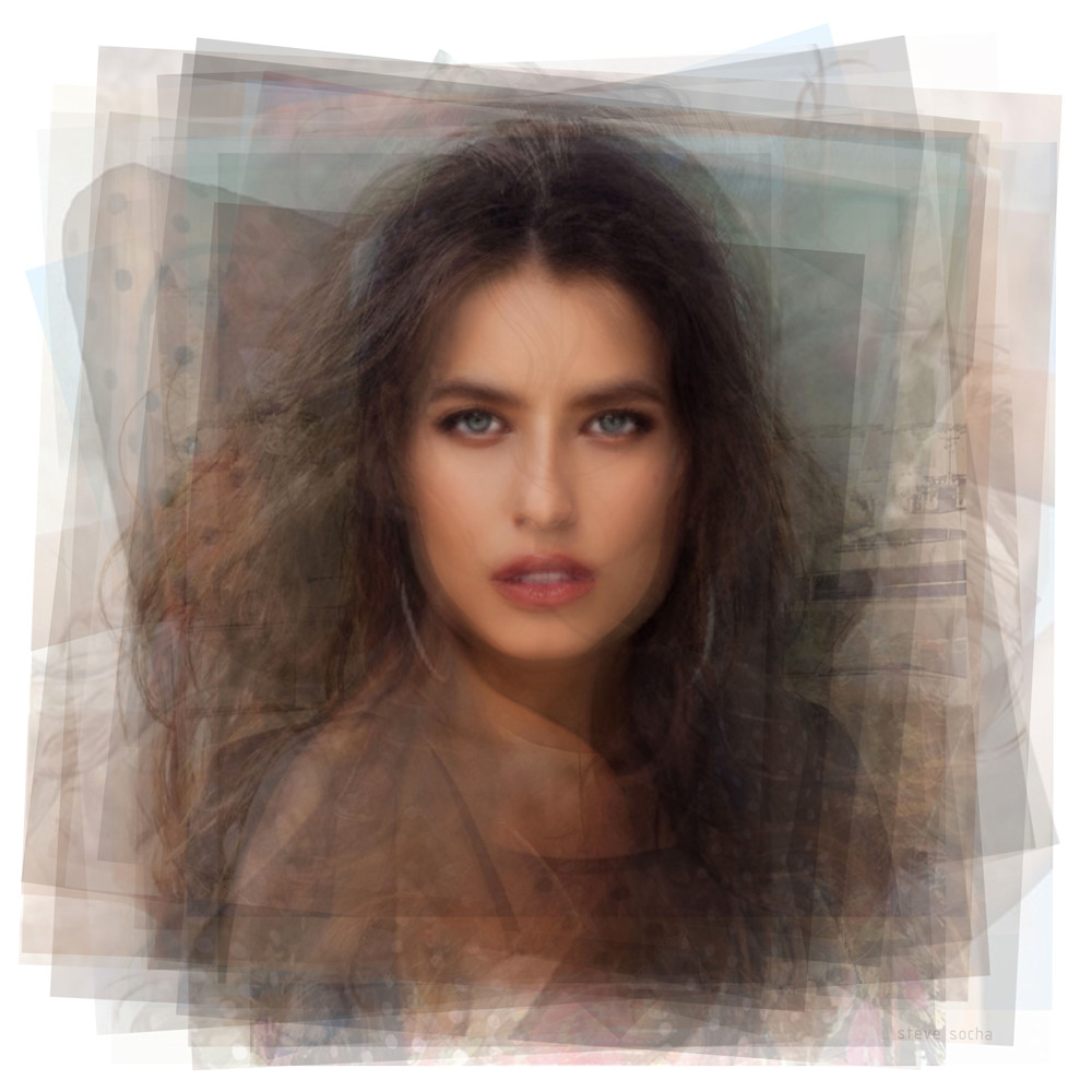 Overlay art – contemporary fine art prints of model Alice Peneaca