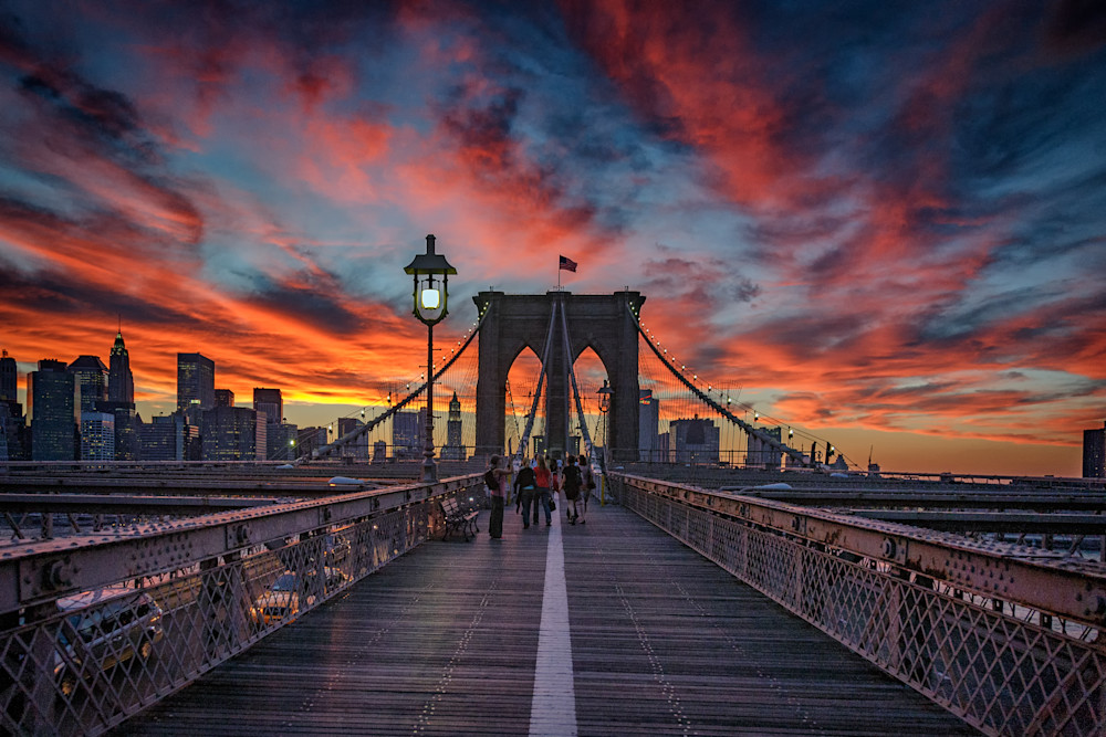 Sunset on the Brooklyn Bridge by Rick Berk.