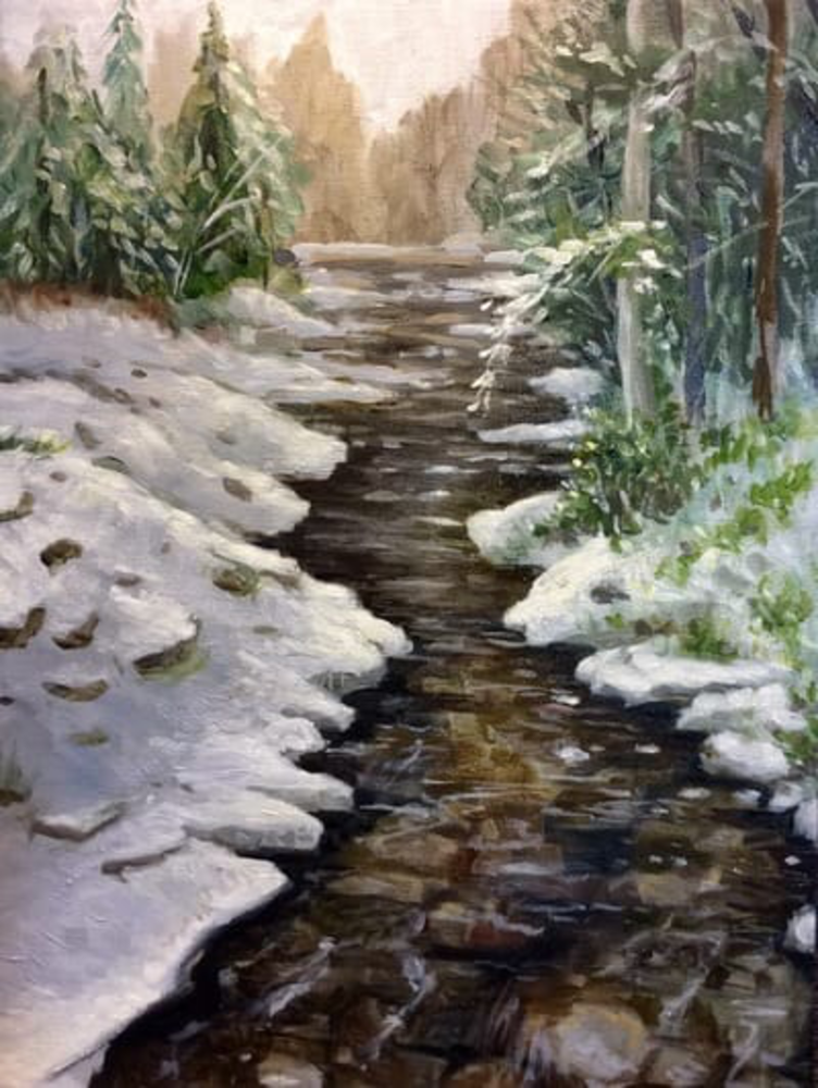 Quiet after the snow at the creek fine art print by Hilary J. England