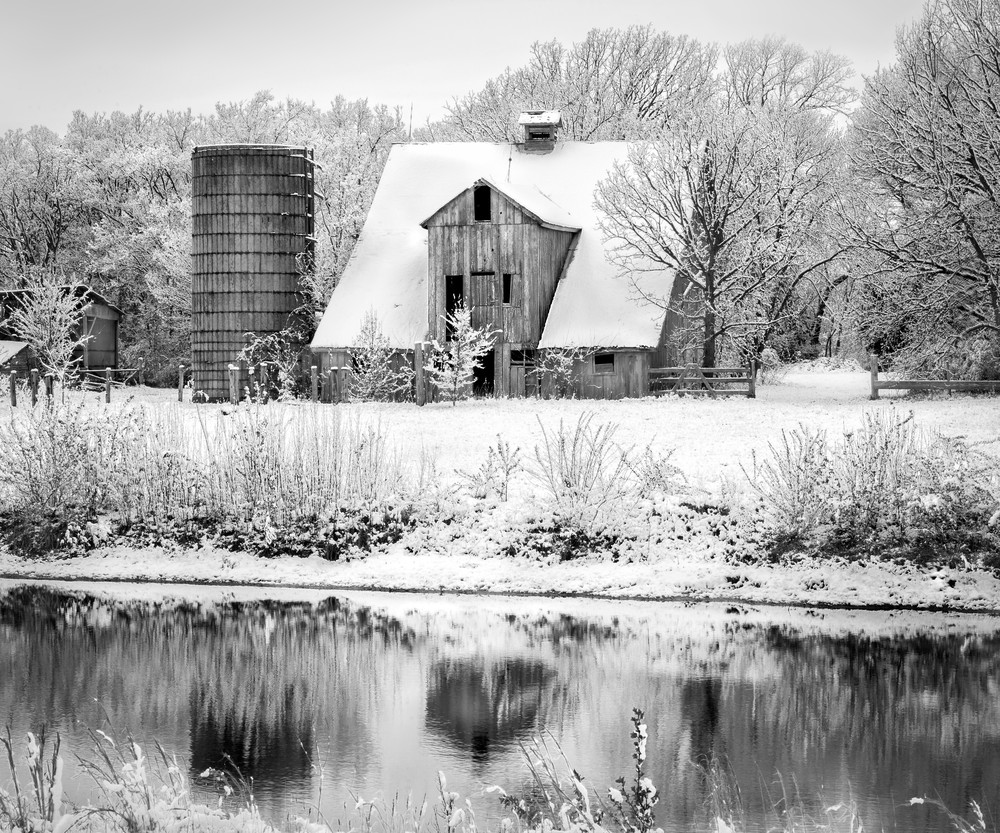 Americana fine art black and white photographs spring snow by fine art photographer david zlotky