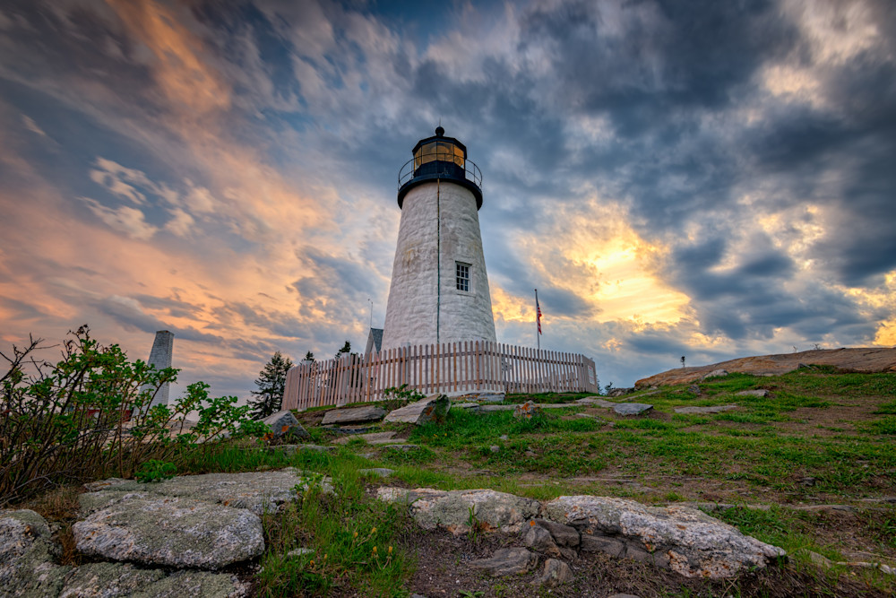 Cloudy Sunset at Pemaquid Point by Rick Berk