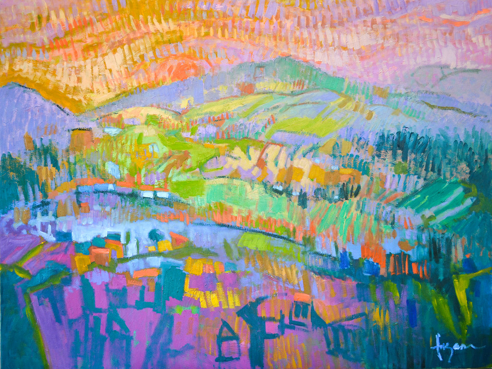 Enchanted Mountain Abstract Landscape Print by Dorothy Fagan