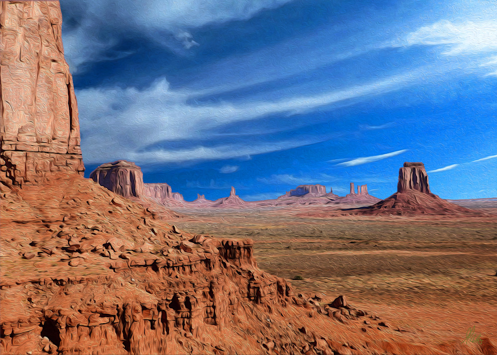 Window Overlook, Monument Valley print of photograph of Monument Valley transformed into digital art by Maureen Wilks
