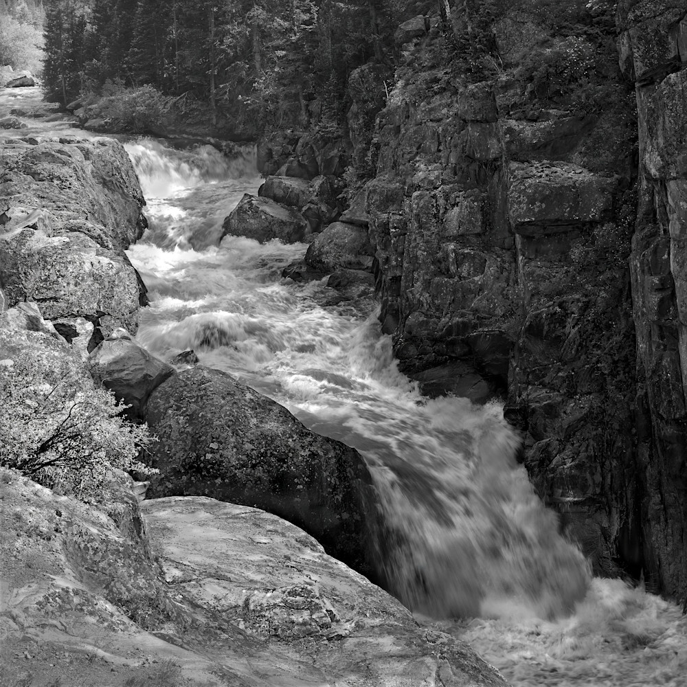 The Serenity of Water Collection - bw | Poudre Falls, square - bw. Square format crop. Black and white fine art photograph of waterfall and rapids by David Zlotky.