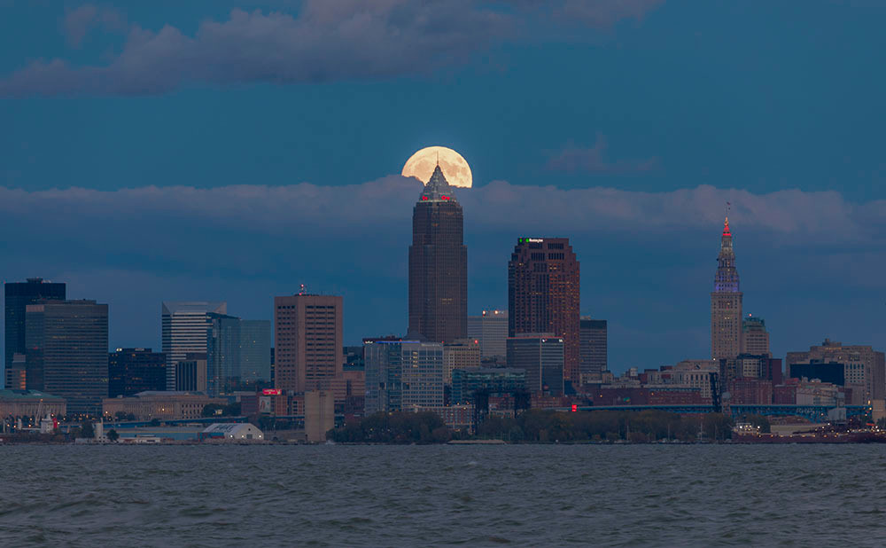 Moonrise Over Cleveland Skyline No. 1