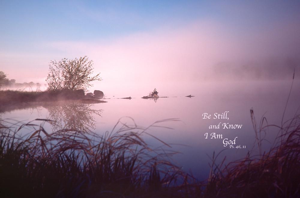 Foggy dawn, Chippewa River, with quote - shop prints | Closer Views
